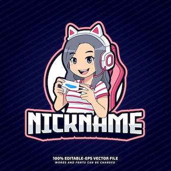 Niedliche gamer mädchen maskottchen bearbeitbare logo-vorlage