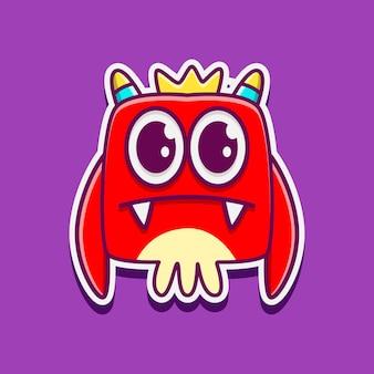 Niedliche gekritzel aufkleber monster cartoon designs illustration