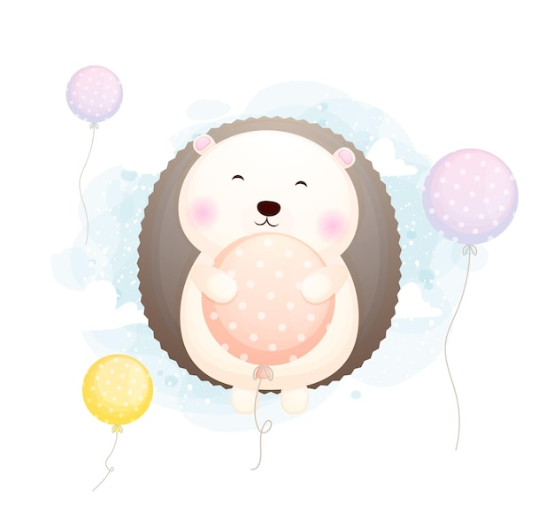 Niedliche gekritzel-baby-igel-umarmung und fliegen mit ballon-zeichentrickfigur