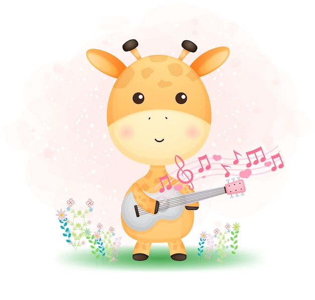 Niedliche gekritzel-babygiraffe, die eine gitarre auf dem gras spielt