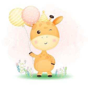 Niedliche gekritzel-babygiraffe, die luftballons auf dem gras hält