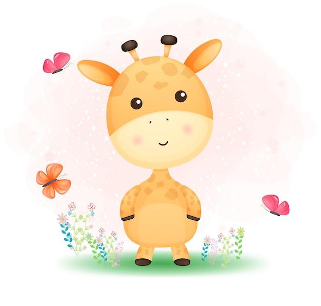 Niedliche gekritzel-babygiraffe, die mit schmetterling auf dem gras spielt