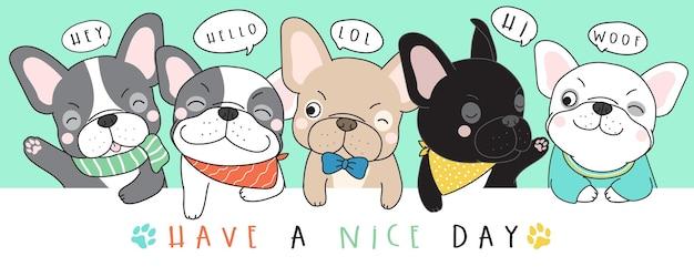 Niedliche gekritzel französische bulldogge illustration