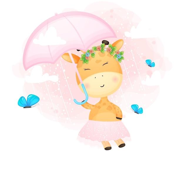 Niedliche gekritzelbabygiraffe, die in der luft mit regenschirm fliegt. babydusche