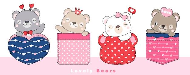 Niedliche gekritzelbären sitzen in der tasche für valentinstag