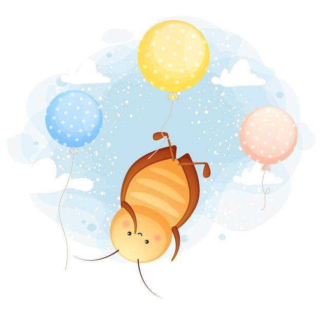 Niedliche gekritzelkakerlake, die mit luftballons in der himmelskarikaturfigur schwimmt