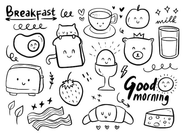 Niedliche gekritzelverzierung des frühstücks mit katze