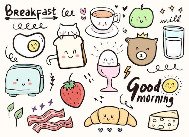Niedliche gekritzelverzierung des frühstücks mit katzen- und nahrungsmittelillustration frühstücksniedliche gekritzelverzierung mit katze und nahrungsmittelillustration