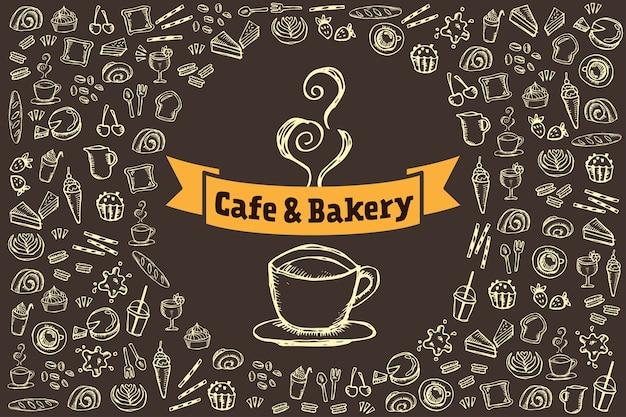 Niedliche gekritzelzeichnung der café- und bäckereielemente auf braunem hintergrund
