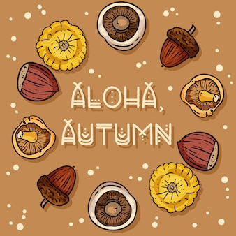 Niedliche gemütliche karte des dekorativen kranzes aloha herbstes