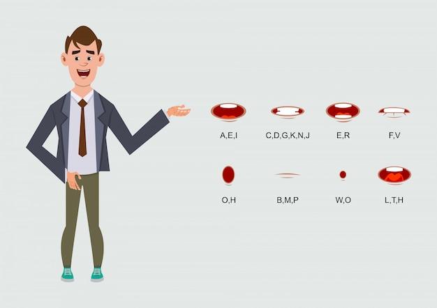 Niedliche geschäftsmann-cartoon-figur mit unterschiedlicher lippensynchronisation für design, bewegung oder animation