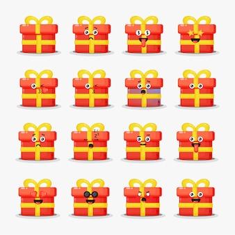 Niedliche geschenkbox mit emoticons eingestellt