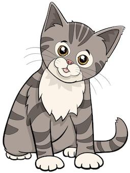 Niedliche getigerte katze oder kätzchenkarikaturtier