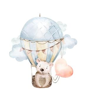 Niedliche gezeichnete aquarellillustration des karikaturbabybärentiers mit luftballon