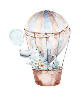 Niedliche gezeichnete aquarellillustration des karikaturbabykrokodiltiers hand mit luftballon
