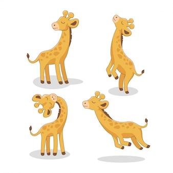 Niedliche giraffe cartoon set