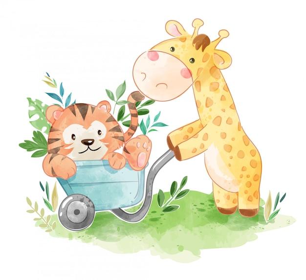 Niedliche giraffe mit tigerfreund in der warenkorbillustration