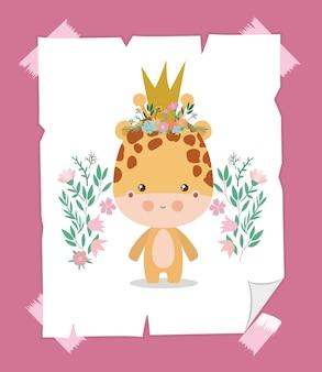 Niedliche giraffenkarikatur mit krone
