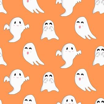 Niedliche glückliche halloween weiße boo geister zufälliges fliegen auf orangem hintergrund. nahtloses muster.
