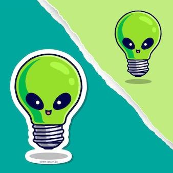 Niedliche glühbirne alien cartoon, aufkleber charakter design.