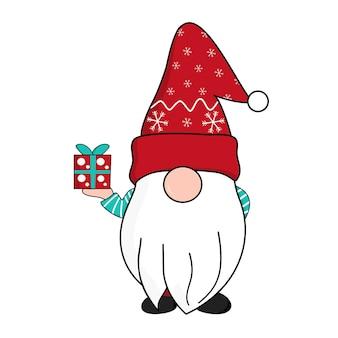 Niedliche gnome in roten schneeflocken weihnachtsmann-hut, der geschenkbox in der hand hält. feiern weihnachten und neujahr. vektor-illustration.