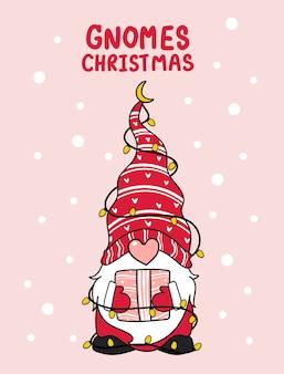 Niedliche gnome rosa nase weihnachten mit leichter karikaturillustration
