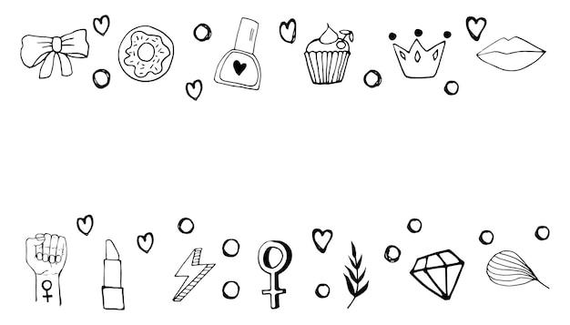 Niedliche grenze mit symbolen für feminismus und körperpositivitätsbewegung. handgezeichnete doodle-elemente, aufkleber, phrasen und schriftzüge. konzeptdesign für frauen.