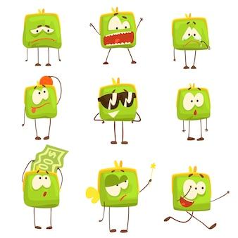 Niedliche grüne lustige humanisierte geldbörse, die verschiedene emotionen satz bunte zeichen illustrationen zeigt