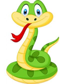 Niedliche grüne schlangenkarikatur