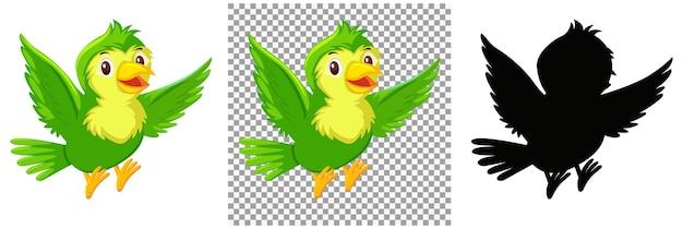 Niedliche grüne vogelkarikaturfigur