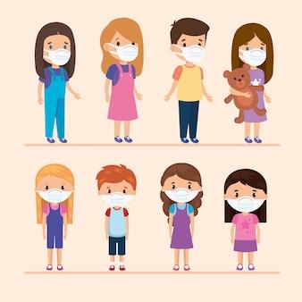 Niedliche gruppenkinder, die gesichtsmaskenillustrationsentwurf verwenden