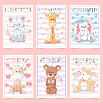 Niedliche grußkarten für kinder mit tieren