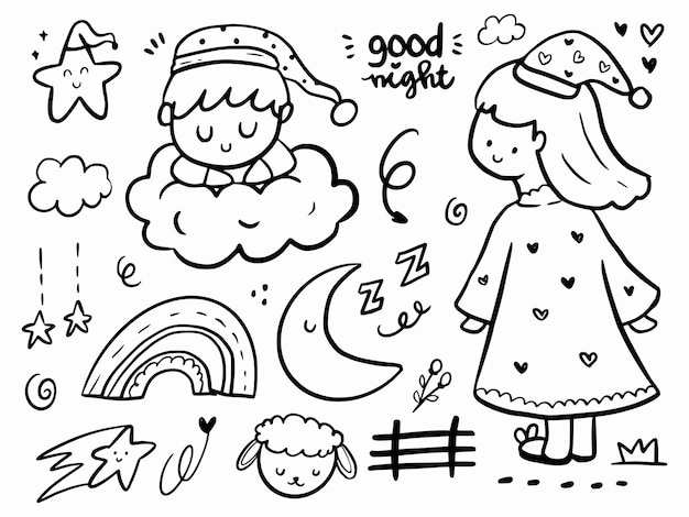 Niedliche gute nacht, die gekritzelillustrationskarikatur mit regenbogen und wolken zeichnet