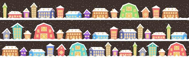 Niedliche häuser in der wintersaison verschneite stadtstraße frohe weihnachtsplakat-feiertagsfeierkonzept-grußkarte horizontale vektorillustration