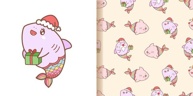 Niedliche hai-meerjungfrau-karikaturmuster nahtlos mit rosa hintergrund für weihnachten