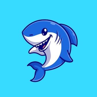 Niedliche haifisch-karikatur-vektor-symbol-illustration. tier natur symbol konzept isoliert premium-vektor. flacher cartoon-stil