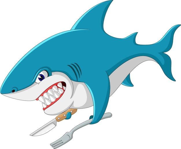 Niedliche haifischkarikatur der illustration