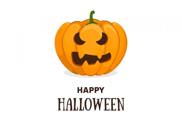 Niedliche halloween-einladungs- oder grußkartenschablone mit niedlichem lächelndem orange kürbis. flache karikaturillustration des vektors.