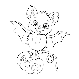 Niedliche halloween-fledermaus mit kürbis malvorlagen. umriss cartoon-vektor-illustration