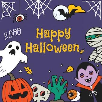 Niedliche halloween-grußkarte mit halloween-zeichentrickfilm-figuren