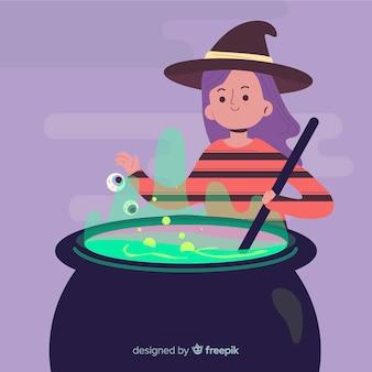 Niedliche halloween-hexe, die bann macht