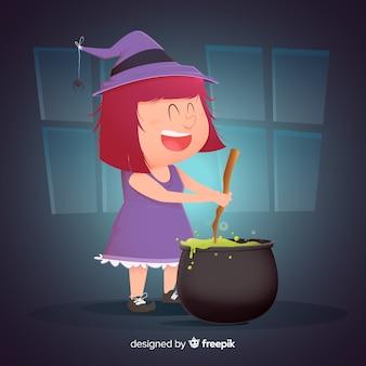 Niedliche halloween-hexe, die einen bann macht
