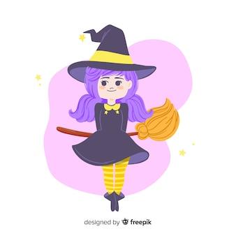 Niedliche halloween-hexe mit dem purpurroten haar und dem besen