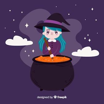 Niedliche halloween-hexenkarikatur