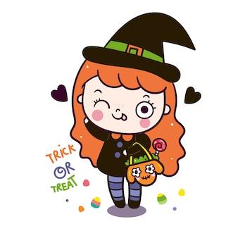 Niedliche halloween-karikatur des magischen mädchens, die kürbistasche hält