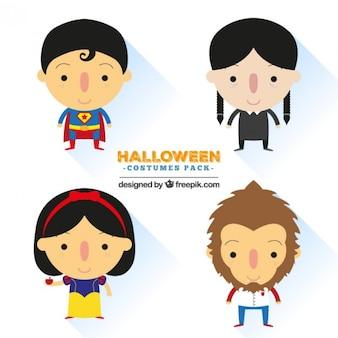 Niedliche halloween-kostüme pack