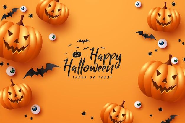 Niedliche halloween-kürbisse mit monster- und fledermausaugen