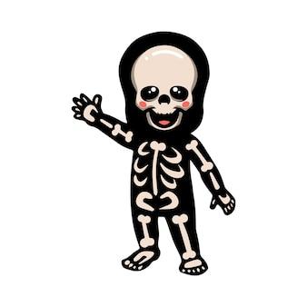 Niedliche halloween-skelett-karikatur winkende hand