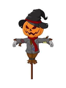 Niedliche halloween-vogelscheuche-kürbis-cartoon
