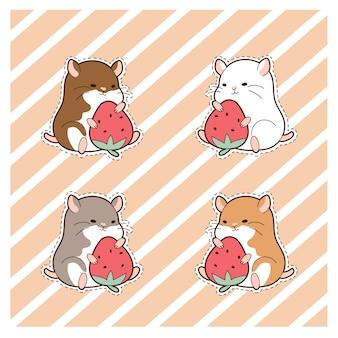 Niedliche hamster und erdbeer-cartoon-set